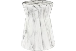 Outdoor Grey and White Marbled Garden Stool