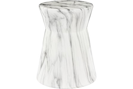 Outdoor Grey and White Marbled Garden Stool - Main
