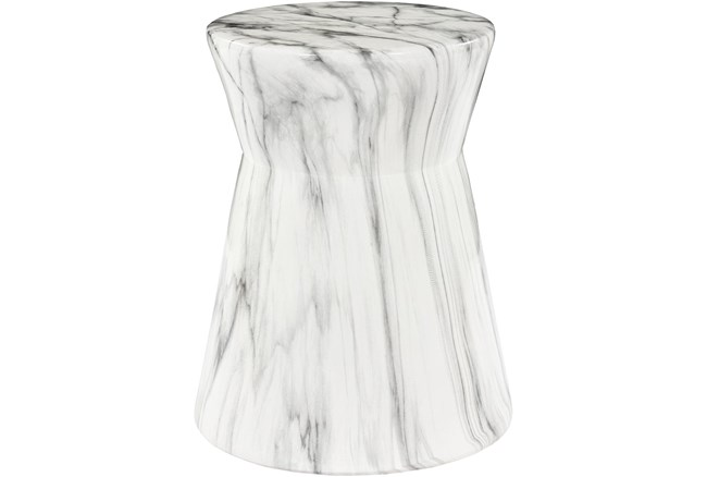 Outdoor Grey and White Marbled Garden Stool - 360
