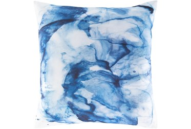 18X18 Bright Blue Watercolor Abstract Throw Pillow