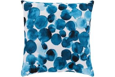 18X18 Bright Blue Watercolor Dot Throw Pillow