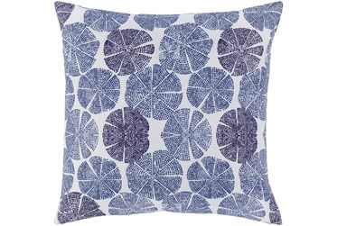 18X18 Dark Blue and Navy Lily Pad Throw Pillow