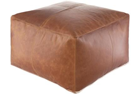 22X22 Brown Leather Square Pouf Ottoman - Main