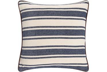 20X20 Denim and Cream Multi Strip Throw Pillow