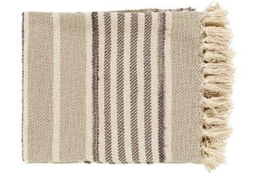 50X60 Khaki Throw Blanket With Tassels