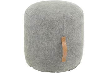 20 Diameter Round Grey Pouf Ottoman With Leather Handle