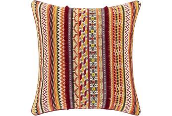 20X20 Orange and Red Horizontal Stripe Throw Pillow