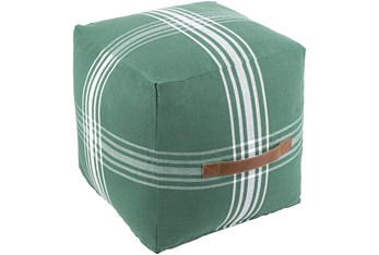 16X16 Green and White Plaid Cube Pouf With Cognac Leather Handle