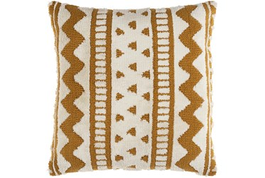 18X18 Mustard and Ivory Geo Aztec Throw Pillow