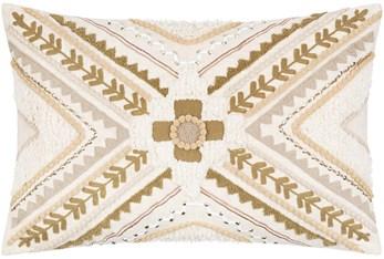 13X20 Tan and Cream Pattern Lumbar Throw Pillow