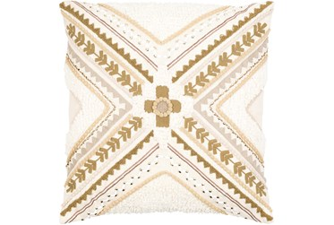 18X18 Tan and Cream Pattern Throw Pillow