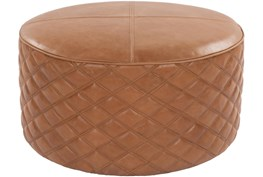 28 Diameter Round Camel Leather Quilted Pouf Ottoman