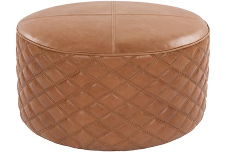28 Diameter Round Camel Leather Quilted Pouf Ottoman - Main