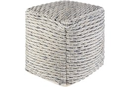18X18 Grey and Blue TeXtured Wool Pouf Ottoman