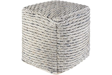 18X18 Grey and Blue TeXtured Wool Pouf Ottoman - Main