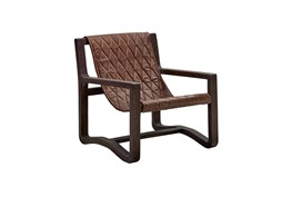 Leather + Wood Frame Sling Chair
