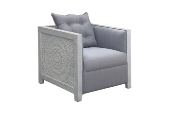 White Wash Carved Panel Accent Chair