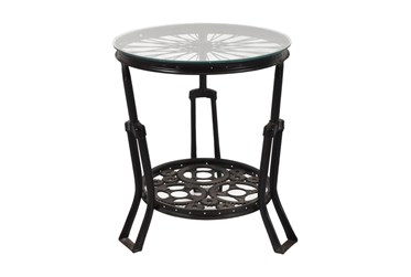 Spokes Metal + Glass End Table