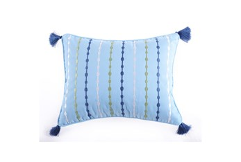 18X14 Blue Embroidered Tassel Pillow