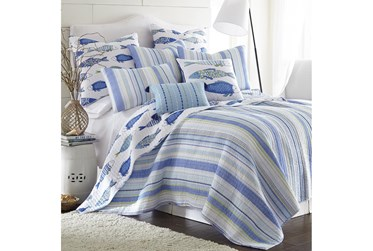 Twin Quilt-2 Piece Set Reversible Stipes to Fish Print