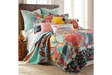 Twin Quilt-2 Piece Set Reversible Colorful Design to Teal Medallions