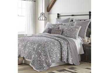 King Quilt-3 Piece Set Reversible Medallions to Diamonds with Fringe