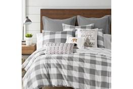 Full/Queen Duvet-3 Piece Set Reversible Farmhouse Buffalo Plaid to Stripe Grey