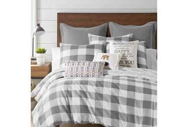 King Duvet-3 Piece Set Reversible Farmhouse Buffalo Plaid to Stripe Grey