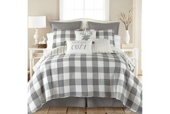Full/Queen Quilt-3 Piece Set Reversible Farmhouse Buffalo Plaid to Stripe Grey