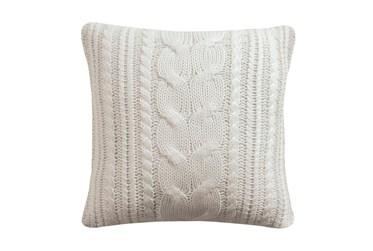 18X18 Farmhouse Knit Cream Pillow