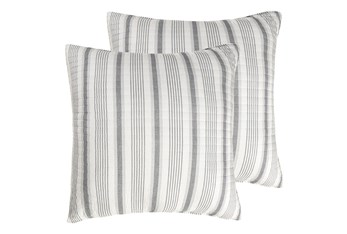 Euro Sham- Set of 2 Grey Quilt back Stripe