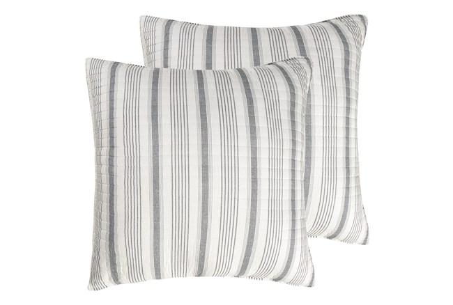 Euro Sham- Set of 2 Grey Quilt back Stripe - 360