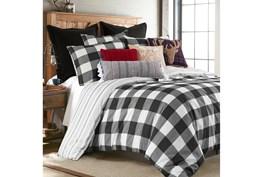 Full/Queen Duvet-3 Piece Set Reversible Farmhouse Buffalo Plaid to Stripe Black