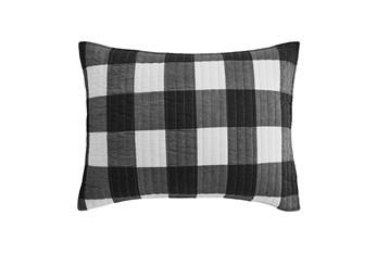 Twin Quilt-2 Piece Set Reversible Farmhouse Buffalo Plaid to Stripe Black