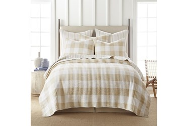 Full/Queen Quilt-3 Piece Set Reversible Farmhouse Buffalo Plaid to Stripe Taupe