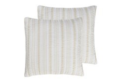 Euro Sham- Set of 2 Taupe Quilt back Stripe
