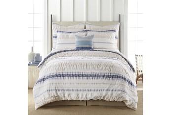 Queen Comforter-3 Piece Set Tribal Woven Stripe & Ruching White/Blue