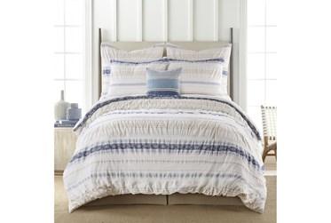 Queen Duvet-3 Piece Set Tribal Woven Stripe & Ruching White/Blue