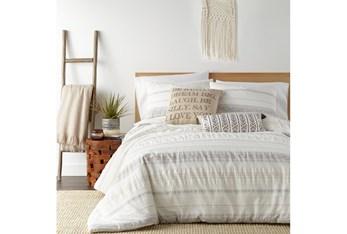 Queen Comforter-3 Piece Set Tribal Woven Stripe & Ruching White/Grey