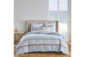King Duvet- 3 Piece Set Stripes W/ Knot and Fray Detailing Blue/Grey