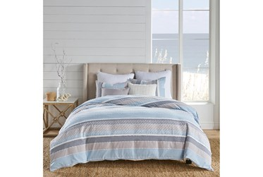 Queen-3 Piece Set Stripes W/ Knot and Fray Detailing Blue/Grey