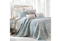 Full/Queen Quilt-3 Piece Set Reversible Paisley Pattern to Ikat Stripe
