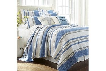 King Quilt-3 Piece Set Reversible Blue, Grey, and White Stripes