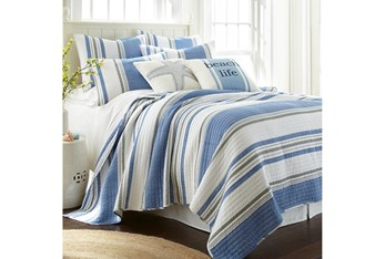 Full/Queen Quilt-3 Piece Set Reversible Blue, Grey, and White Stripes