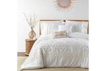 Queen Duvet-3 Piece Set Tribal Jacquard in Tufted Chenille and Frayed Cotton White