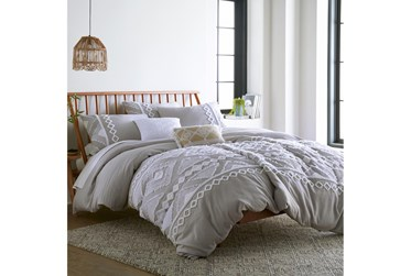 Queen Duvet-3 Piece Set Tribal Jacquard in Tufted Chenille and Frayed Cotton Grey