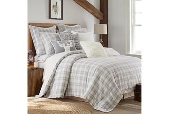 King Comforter-3 Piece Set Farmhouse Plaid Grey/White