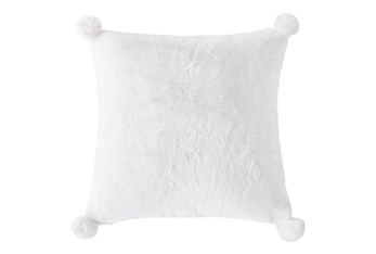 18X18 Farmhouse Plaid Sherpa Pom Pillow