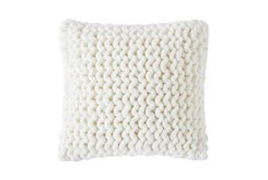 18X18 Farmhouse Plaid Cable Knit Ivory Pillow