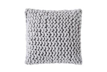 18X18 Farmhouse Plaid Cable Knit Grey Pillow
